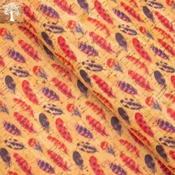 Tissu en Liège - Plumes Colorées