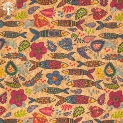 Tissu en Liège - Poisson Coloré