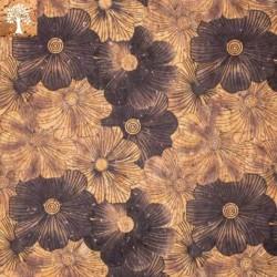 Tissu en Liège - Fleur Noire